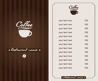 Menu for the cafe Royalty Free Stock Image