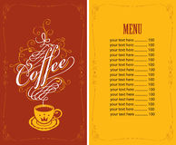 Menu for a cafe with a cup of coffee Royalty Free Stock Photo