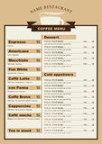 Menu for the cafe with a cup of coffee Royalty Free Stock Photo
