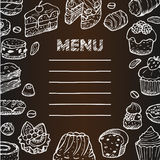Menu with cafe hand drawn doodle elements Royalty Free Stock Photo