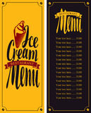 Menu for cafe with ice cream Royalty Free Stock Image