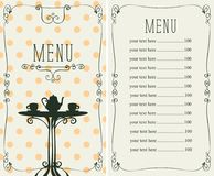 Menu for the cafe with price list and served table Stock Images
