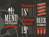 Menu for a cafe or restaurant Royalty Free Stock Image