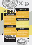 Menu cafe restaurant, template placemat. Food board design. Stock Photography