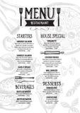 Menu cafe restaurant, template placemat. Food board design. Stock Photos