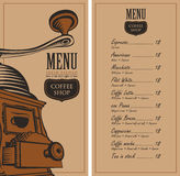 Menu for a cafe shop Royalty Free Stock Photo