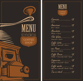 Menu for a cafe shop Royalty Free Stock Images