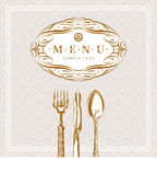 Menu with calligraphic frame and vintage cutlery stock illustration
