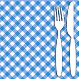 Menu Card Background. Blue Menu Card Background - Blue Checkered tablecloth and Cutlery vector illustration