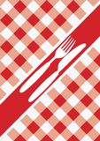 Menu Card Background. Red And White Gingham & Cutlery / Vector stock illustration