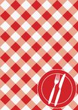 Menu Card Background. Red And White Gingham & Cutlery / Vector royalty free illustration