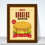 Menu card with burger. Stock Photo