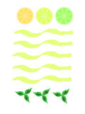 Menu. Card decorated with lemon, lime, orange and mint leaves royalty free illustration
