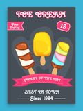 Menu card design for ice cream. Royalty Free Stock Images