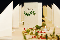 Menu Card On Festive Decorated Table Royalty Free Stock Image