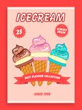 Menu card, flyer or brochure design for ice cream. Royalty Free Stock Image