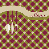 Menu card with fork, knife and spoon. Fork, knife and spoon on menu card vector illustration