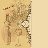 Menu card of grapes, bottle, wine glass Royalty Free Stock Photography