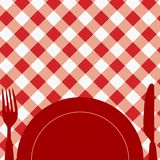Menu Card / Invitation. Menu Card / Red and White Tablecloth, cutlery and dish royalty free illustration