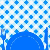 Menu Card / Invitation. Menu Card / Blue and White Tablecloth, cutlery and dish royalty free illustration