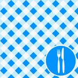 Menu Card / Invitation. Menu Card / Blue and White Tablecloth, cutlery and dish stock illustration