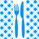 Menu Card / Invitation. Menu Card / Blue and White Tablecloth, cutlery and dish vector illustration