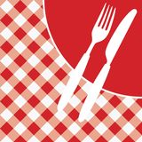 Menu Card / Invitation. Menu Card / Red and White Tablecloth, cutlery and dish / vector vector illustration