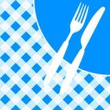 Menu Card / Invitation. Menu Card / Blue and White Tablecloth, cutlery and dish / Vector royalty free illustration