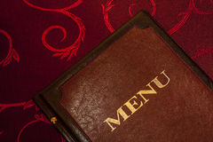 Menu card in leather cover. Royalty Free Stock Photography