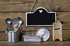 Menu card with old nostalgic utensils for the kitchen. Country s Royalty Free Stock Photo