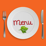Menu card with plate, fork and knife Royalty Free Stock Image