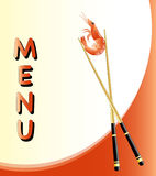 Menu card with prawn. A menu template with a prawn held by chopsticks Stock Photography