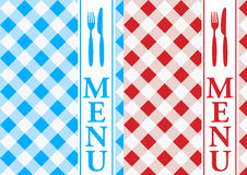 Menu Card - Red and Blue Gingham. Menu Cards - Red and Blue Gingham Texture With Menu Sign - vector Royalty Free Stock Photos