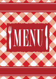 Menu Card - Red Gingham. With Menu Sign and Cutlery - Vector royalty free illustration