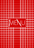 Menu Card - Red Gingham. With Menu Sign and Cutlery - Vector vector illustration