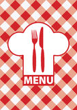 Menu Card - Red Gingham. Menu Cards With Sign, Chef Hat Silhouette and Cutlery on Red Gingham - Vector Royalty Free Stock Photography