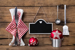 Menu card in red white checked colors with cutlery for a christm Royalty Free Stock Image