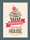 Menu card, template or brochure for sweet house. Royalty Free Stock Images