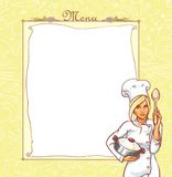 Menu card with ttractive young woman in chef suit Stock Photo