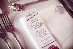 Menu card. On a wedding table Stock Image