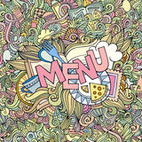 Menu cartoon hand lettering and doodles elements Royalty Free Stock Image