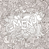 Menu cartoon hand lettering and doodles elements Royalty Free Stock Photo