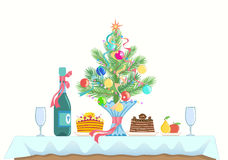 Menu for celebrating a New Year and Christmas. A small table served for two. Menu for celebrating a New Year and Christmas. Cakes, fruit, champagne or wine Royalty Free Stock Images