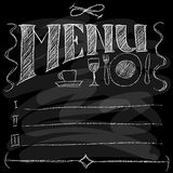 Menu. Chalk on a blackboard. Vector illustration Stock Image