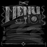 Menu. Chalk on a blackboard. Vector illustration Stock Image