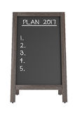 Menu Chalk Board with the Phrase Plan 2017. 3d Rendering. Menu Chalk Board with the Phrase Plan 2017 on a white background. 3d Rendering Stock Photo