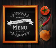 Menu on Chalkboard. Background with hand drawn ornament for restaurant in wooden frame on wooden background with two tomatos chili pepper and yellow onion Stock Images