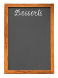 Menu chalkboard for desserts. Isolated on white background with clipping path Royalty Free Stock Image