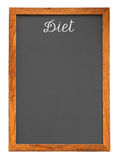 Menu chalkboard for diet food list. Isolated on white background with clipping path Royalty Free Stock Photo