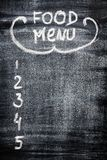 Menu on chalkboard. For your design Royalty Free Stock Photography